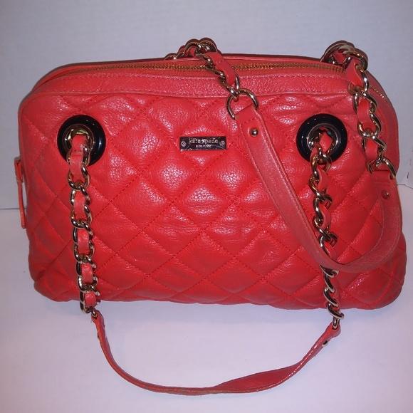kate spade Handbags - Kate Spade Orange Quilted Leather Shoulder Bag